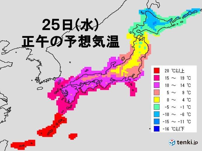 きょう25日(水)の最高気温