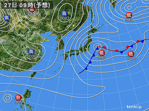 あす27日(金) 冬型の気圧配置 強い寒気が南下