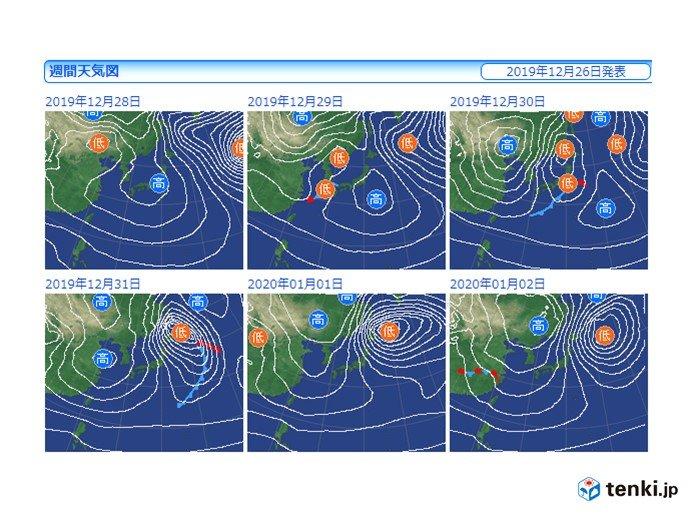 31日(火)大晦日 再び冬型の気圧配置