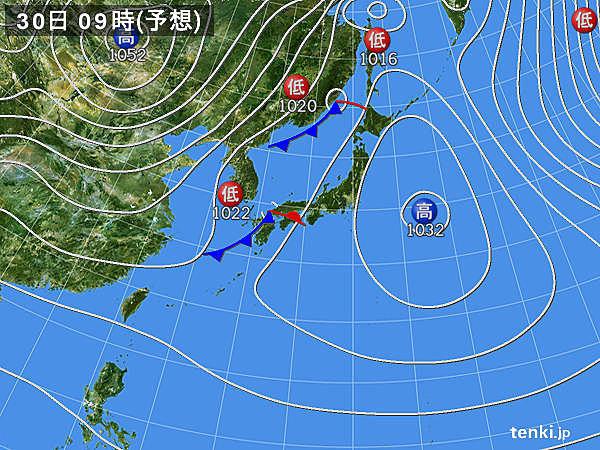 30日(月) 広く雨 南風で朝晩の冷え込み弱い