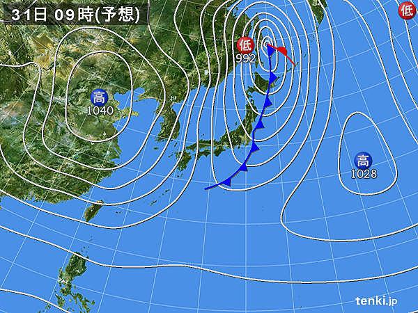 31日(火)大晦日 南風から冷たい北西または西風に 気温急降下