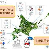 北海道 気温が上がり雨が降る