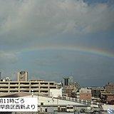 強風の福岡 北の空に「しぐれ虹」