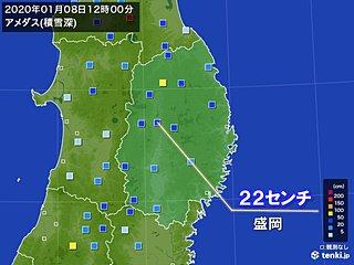 岩手県で積雪が急増 盛岡で一時積雪が22センチに