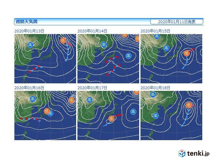低気圧の通過後も冬型強まらず 火曜~水曜は広く雨