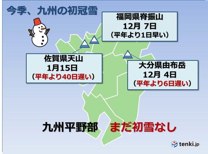 九州平野部 今季まだ初雪の観測なし