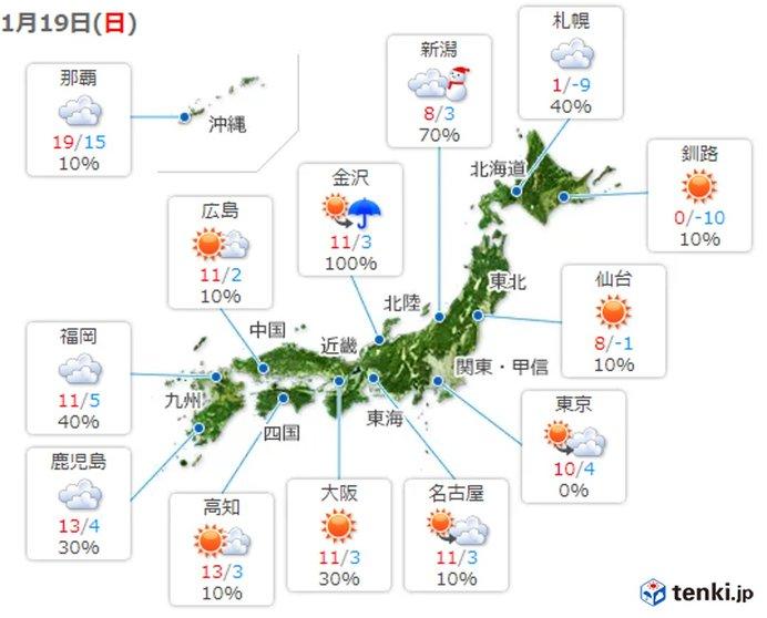 広い範囲で日差しあり ただ九州や中国地方は急な雨も