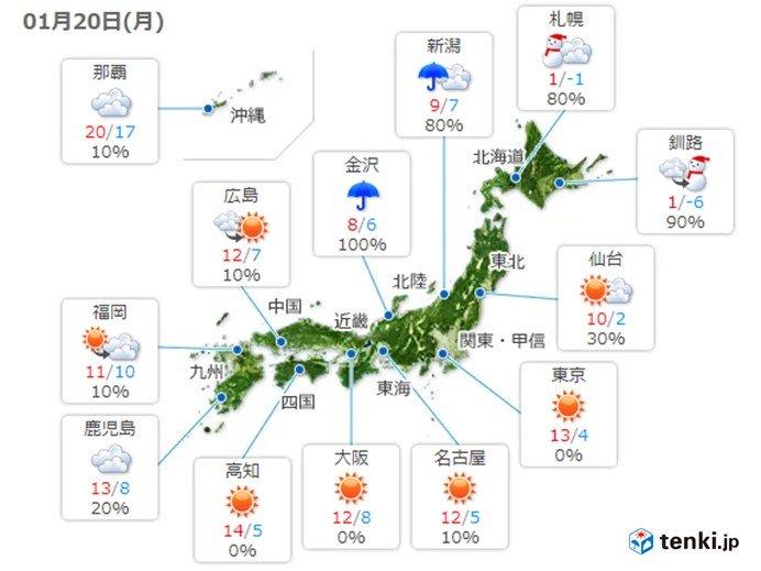 20日 大寒ですが 関東以西は暖かな日差しに