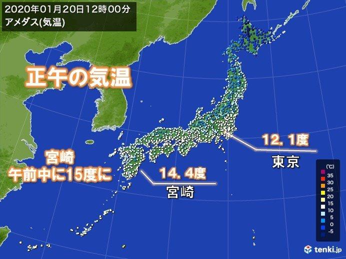 関東以西で大寒らしくない気温 宮崎で午前中に15度