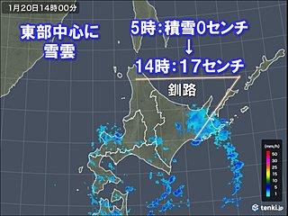 北海道東部で雪強まる 釧路は半日で17センチの積雪