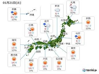 21日 晴れても風冷たい 北海道と東北はふぶく所も