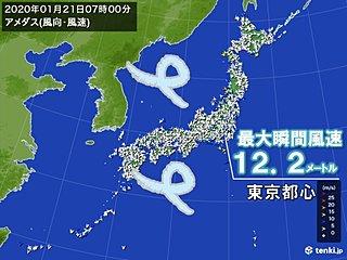 冬型 広く冷たい北風 東京都心も10メートル超