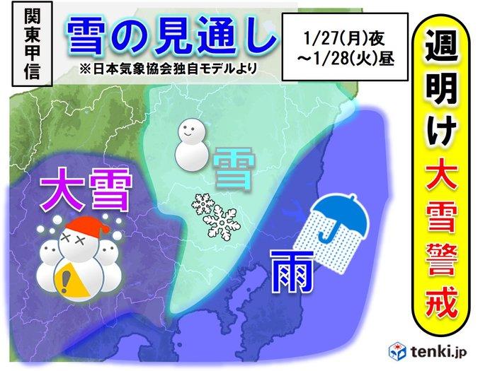 関東 週明けの雪の見通し