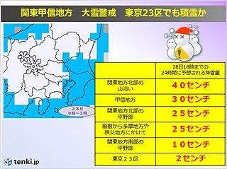 大雪情報 関東南部で降雪10cm 23区内で2cm