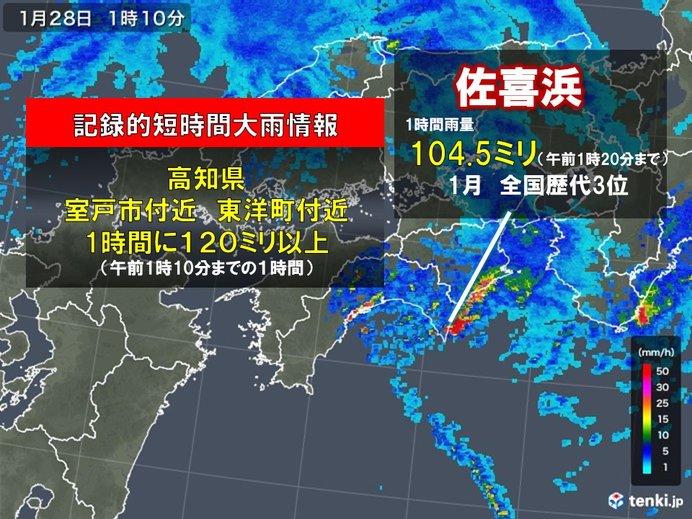 高知県で猛烈な雨 記録的短時間大雨情報