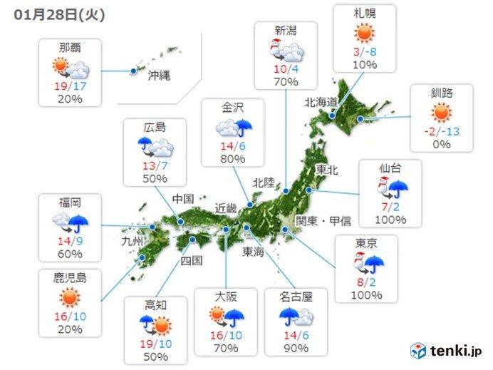 28日 暴風・高波に警戒 東海や関東は激しい雨も