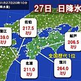 四国と九州で1月として記録的大雨