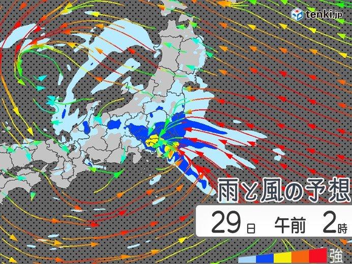28日夜から29日朝 季節外れの大雨 雷や強風にも注意