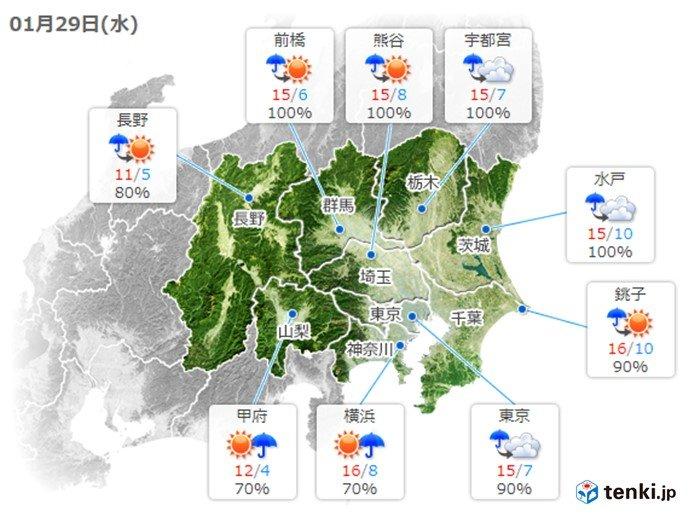 明日は天気回復 気温も高く 3月並みの陽気に