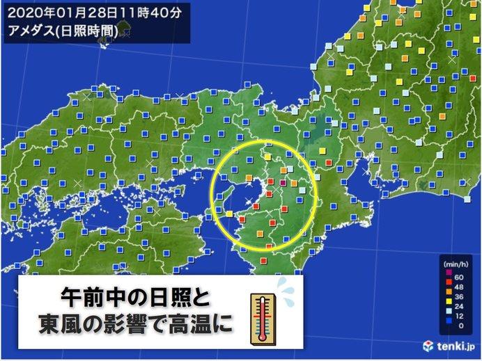 大阪 まだ1月なのに条件重なり4月中旬並みの暖かさ