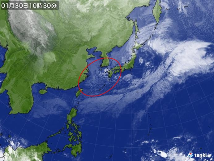 九州は大気の状態不安定