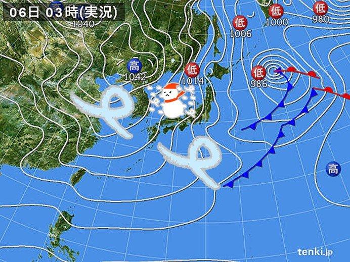 6日 日本海側は大雪 広く北風強く 今季一の寒さ