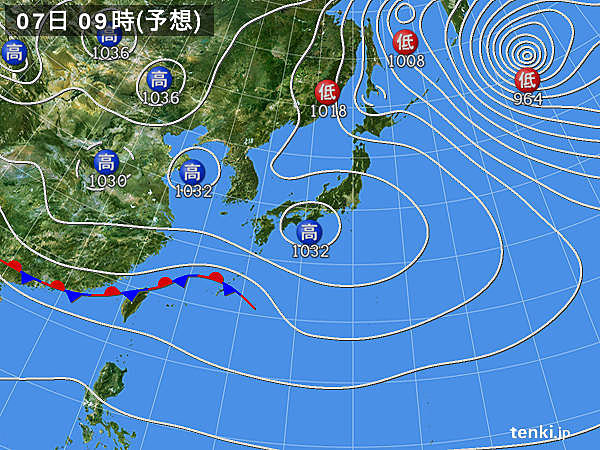 あす7日(金) 夜は沖縄を低気圧が通過 東北を寒冷前線が通過