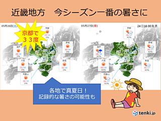 近畿地方 週末は記録的な暑さか