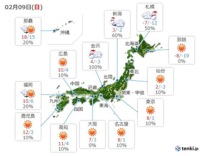 10日にかけて強い寒気が居座る 積雪さらに増加も