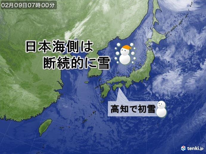 寒気ピーク 太平洋側にも雪雲 北風が冷たい