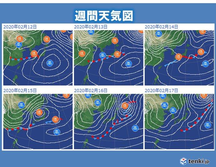 日本付近 低気圧や前線が頻繁に通過