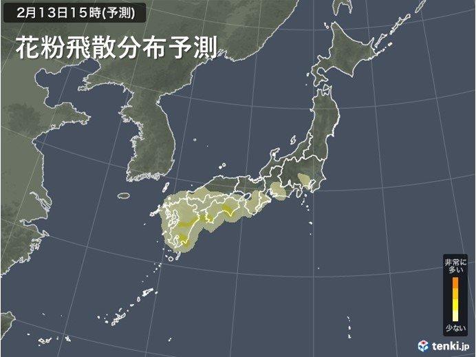 九州から関東は花粉の飛散注意