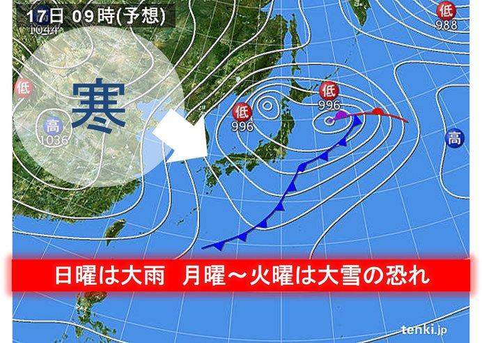 日曜〜火曜 大荒れ 西日本平地も積雪か 春から厳寒