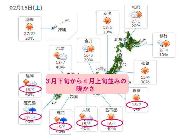 あす15日(土)、3月下旬から4月上旬並みの暖かさ