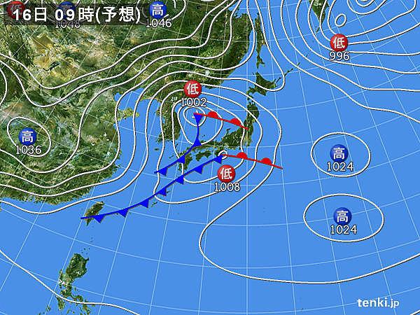 16日(日)~18日(火) 強い寒気が次第に南下 九州の平地で積雪も