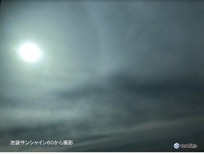 東京都心の空にハロ(日暈)!