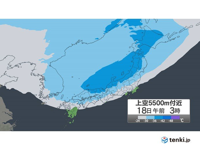 18日(火)にかけて 山陰付近に強い寒気南下