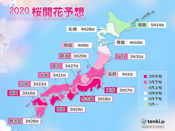 日本気象協会発表「桜開花予想」記録的な早さで開花か