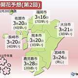 九州 桜の開花予想(第2回)