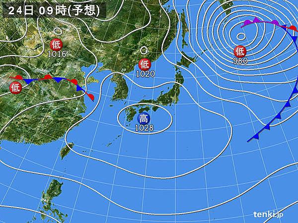 24日(月) 本州付近は高気圧に覆われる