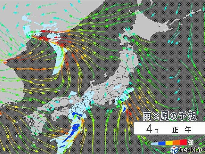 西から雨雲 雨の後は北西風が強まる