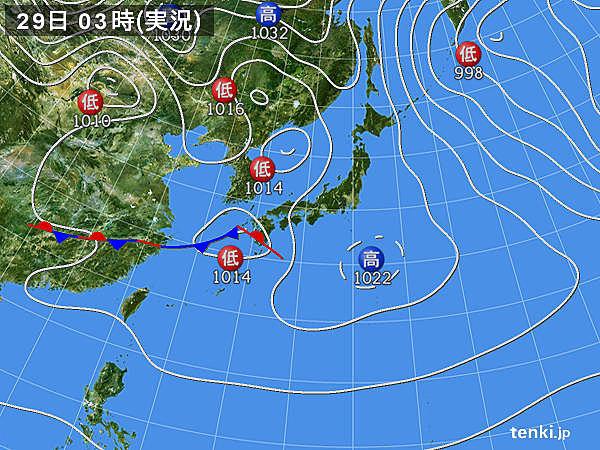 きょう29日(土) 冷たい雨のエリア 次第に広がる