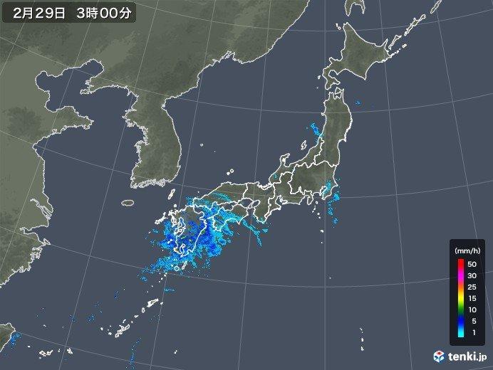 九州で24時間に100ミリを超える雨 雨雲は東へ