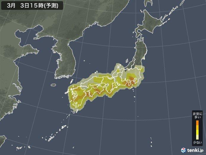 明日は九州から関東で大量飛散