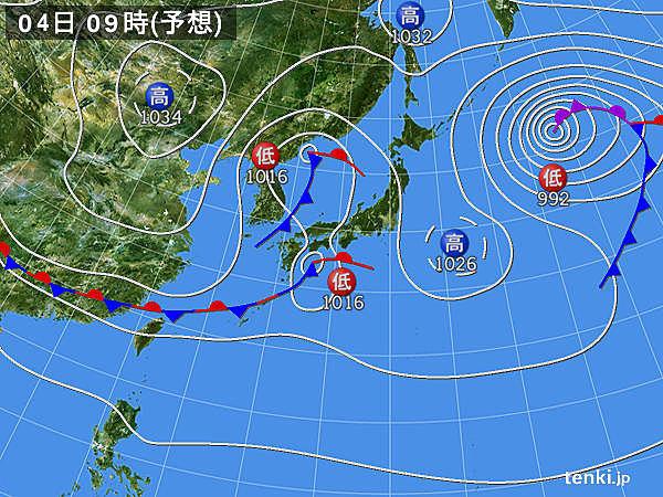 低気圧発達 北日本中心に荒れた天気