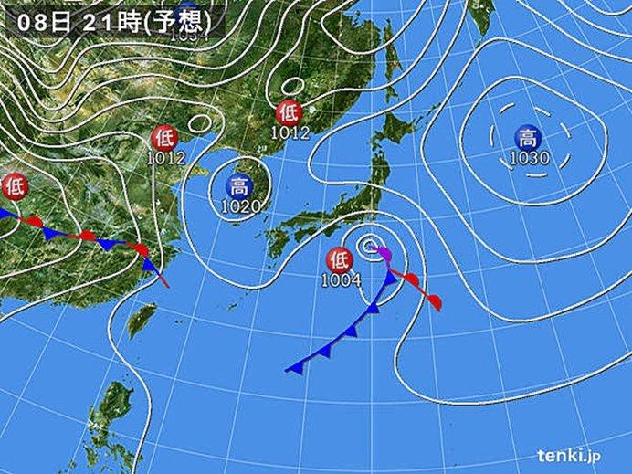 8日の天気 雨域が東へ
