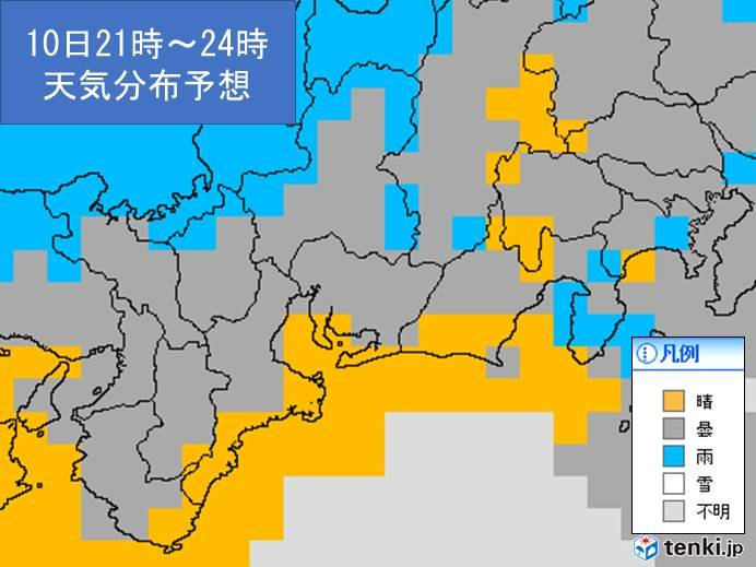 10日夜の東海地方の天気