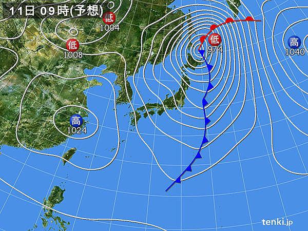 東北から近畿の日本海側 寒気の影響で11日も雨降り続く