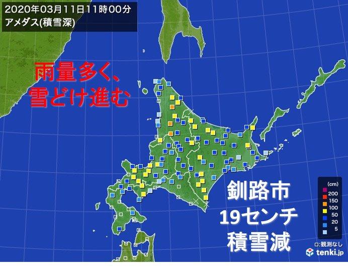 北海道 平年一月超す雨量 進む雪どけ 融雪洪水注意