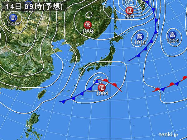 14日(土) 九州~東北南部 冷たい雨